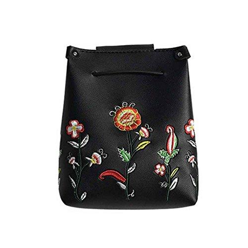 Bolsa de hombro Bordado de la flor muchacha de las mujeres de un solo hombro bolsa de hebilla de cierre de la PU de la manera del bolso de los bolsos de Messenger Crossbody Mengonee Negro