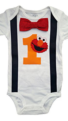 Baby Boys 1st Birthday Outfit - Elmo Bodysuit, Red-black-white-yellow, 18M-Short Sleeve