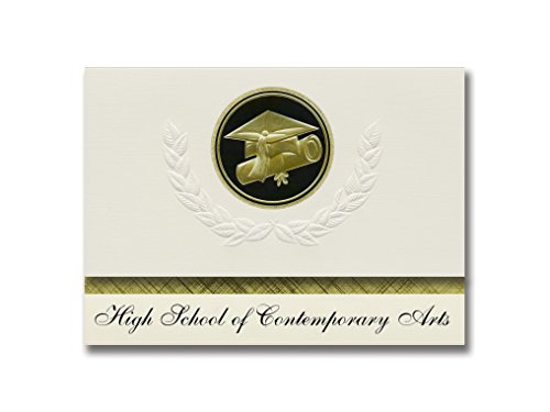 Announcements Contemporary Graduation (Signature Announcements High School of Contemporary Arts (Bronx, NY) Graduation Announcements, Presidential style, Elite package of 25 Cap & Diploma Seal Black & Gold)