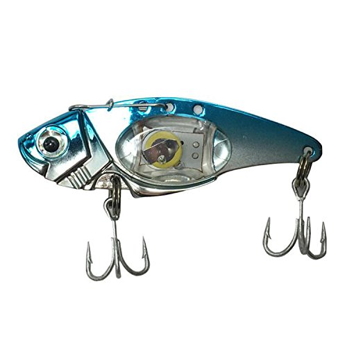AGadget Fishing Lure Metal VIB Electric Lures Fishing LED Baits 8cm/32g Metal Spoon Fishing Hard Lure Bass Blade Crank Bait Treble Hooks Spinners Sequins Paillette (A)