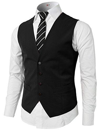 H2H Mens Classic Formal Slim Fit Premium Business Dress Suit Button Down Vests Black US L/Asia XL (KMOV0142)