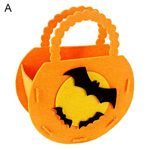 bromrefulgenc Halloween Candy Bag,Portable Pumpkin Shape Candy Bag Storage Bucket Trick or Treat Halloween Candy Favor Suppiler Bat -