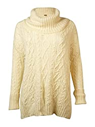 Free People Womens Distressed Cowl Neck Pullover Sweater Ivory M