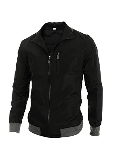 uxcell Mens Convertible Collar Rib Knit Trim Zip Up Jackets Black M (US 38)