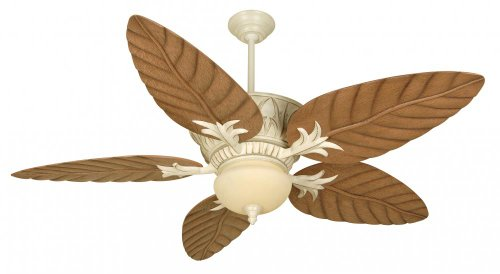 Craftmade PV52AWD Tropical Indoor / Outdoor Ceiling Fan with Downrods and Light Kit - Blades Sold Seprately, Antique Distressed White