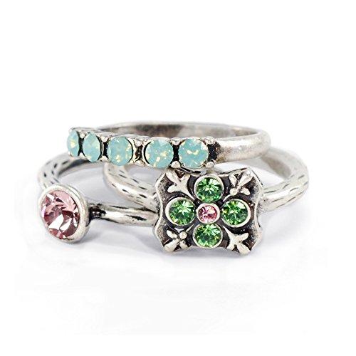 Sweet Romance Inspirational Silver Swarovski Crystal Boho Serenity Stack Rings - Set of 3 Stacking Rings
