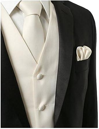 Amazon.com: 3 Pcs Vest + tie + Hankie Color Blanco Moda ...