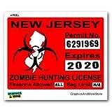 New Jersey NJ Zombie Hunting License Permit Red - Biohazard Response Team - Window Bumper Locker Sticker