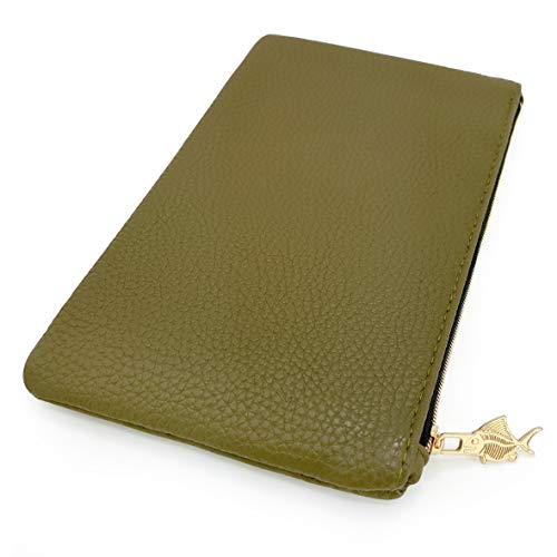 Faux Leather/Leather Look Pencil Case - Olive Green - by Fat Belly Fish ()