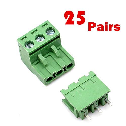 SamIdea 25-Pack 3-Pin 5.08mm Pitch Male Female PCB Screw Terminal Block for Arduino UNO Shield