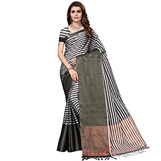 Yaarns Women's Woven Black Striped Mangalagiri Silk Saree With Blouse Material 41xYHDKqyAL