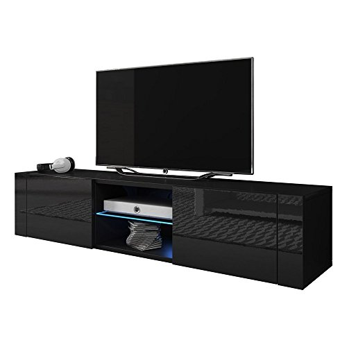 High Gloss Black Tv (Meble Furniture & Rugs TV Stand Best Matte Body High Gloss Doors Modern TV Stand LED (black, 61