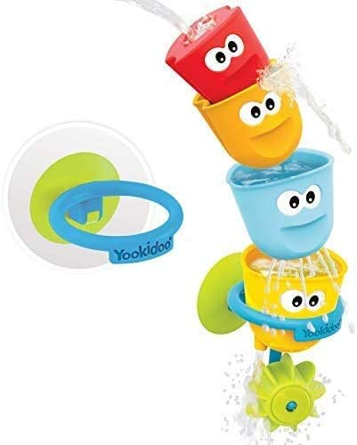 Suction Cup Affixes to Bath Tub Walls Yookidoo Baby Bath Toy Set Fill N Spill 4 Stackable Bathtime Cups and Water Wheel