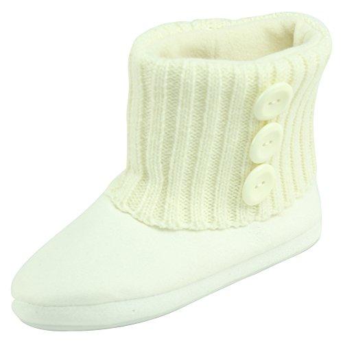 Forfoot Kvinna Mjuk Fleece Vinter Varma Inomhus Hus Mode Stövlar Tofflor Vit 1