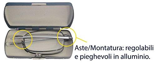 Navigare NA L500Lesebrille, Farbe: Gun-Metal-Grau, mit zusammenklappbaren Teleskopstangen und Metall-Etui mit Schnappverschluss, 4x 8cm, Dicke: 1,5cm, ideal auch für kleine Taschen, Lese- und Weit