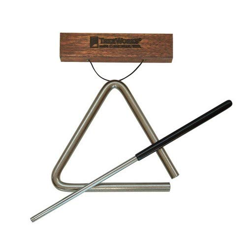 TreeWorks Chimes ((MADE IN U.S.A) Hand Bent in Nashville Tennessee - Solid Steel 5'' Studio-Grade Triangle with (TREbtr-LTE) Beater and Holder (VIDEO), 5-Inch (TRE-HS05) by TreeWorks Chimes