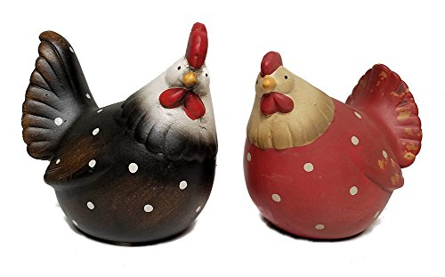 Rooster and Hen Terra Cotta Figurines, Set of Two, 5""