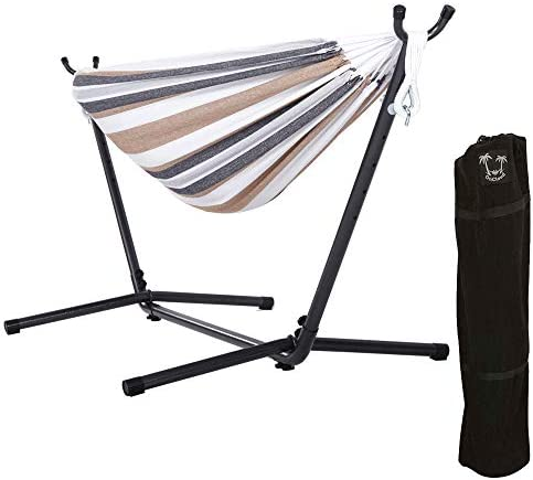 ONCLOUD Double Hammock with 9 FT Space Saving Steel Stand Heavy Duty Carrying Case for Outdoor or Indoor Desert Stripe