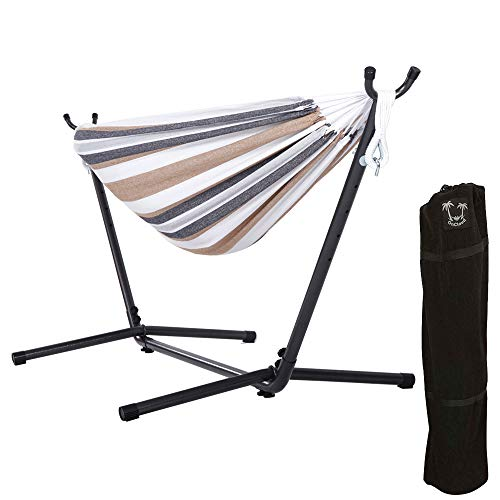 ONCLOUD Double Hammock with 9 FT Space Saving Steel Stand Carrying Case (Desert Stripe)