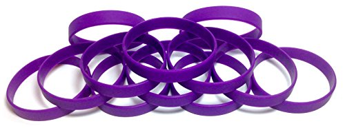 1 Dozen Multi-Pack Dark Purple Wristbands Bracelets Silicone Rubber - Select from a Variety of Colors (Dark Purple, Youth (7