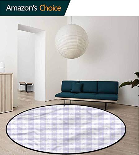Lavender Washable Creative Modern Round Rug,Classic Gingham Pattern Non-Slip Living Room Soft Floor Mat Round-71