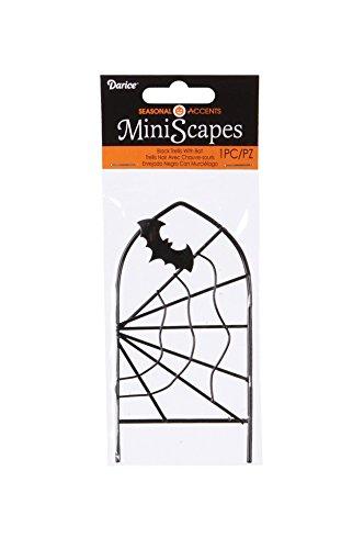 Darice Halloween Decor - Metal Mini Scape Fairy Garden Spider Trellis -