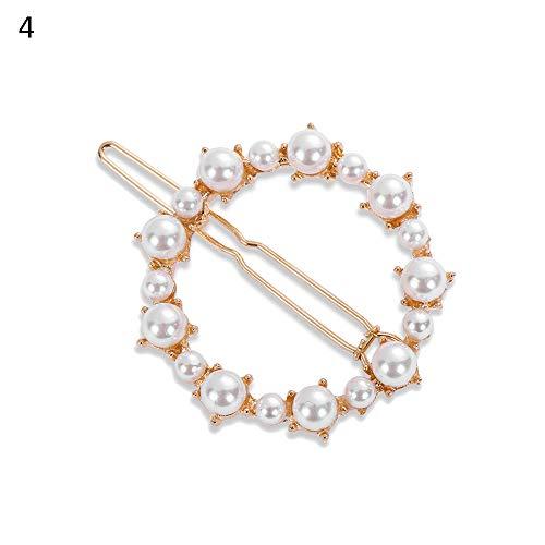 DraFenn Women Hair Accessories Diamond&Pearl Hairpin Ponytail Holder Barrette Rhinestone Hairpin Headwear,4 ()