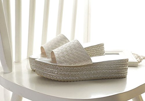 Bizcocho 5cm Moda Sandalias pendiente AJUNR 35 zapatillas 39 beige Transpirable con grueso elegante WxqI00Tgn