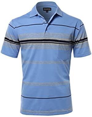 Men's Casual Striped Short Sleeves Three-Button Polo T-Shirt