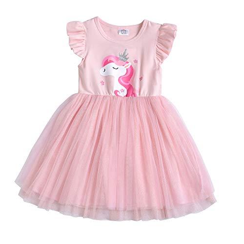 DXTON Little Girl Children Kid Summer Short Sleeve Tutu Party Wedding Birthday Dresses SH4543PINK-6T