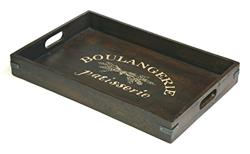 (Mountain Woods TFBO Boulangerie Antique Style Artisan Serving Tray with Metal Accents, X-Large (24