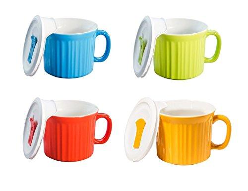 CorningWare Pop in mug, 4 mugs with vented plastic covers (Bake, Microwave) 20 oz/591ml (Multicolored) ()