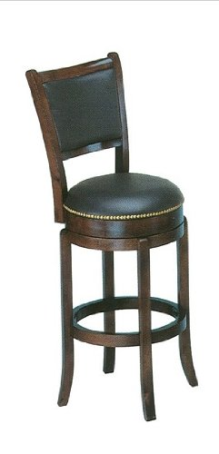 Soft Leather Swivel Bar Stool with Leather Backrest in Espresso (Bar Stool Soft)