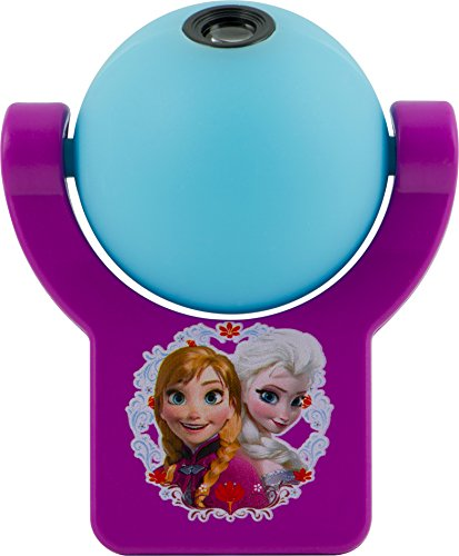 Projectables 13340 Frozen LED Plug-In Night Light, Blue and Purple, Light Sensing, Auto On/Off, Projects Disney Characters Elsa and Anna Image on Ceiling, Wall, or Floor