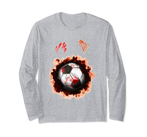 Halloween Zombie Soccer Player, Football Zombie Ball Gift Long Sleeve T-Shirt -