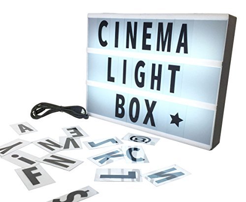 Vintage Plastic Light (Cinema Light Box with Letters & Symbols + USB Cable A4 Size Vintage Cinematic LED Lightbox Changeable Message Sign)