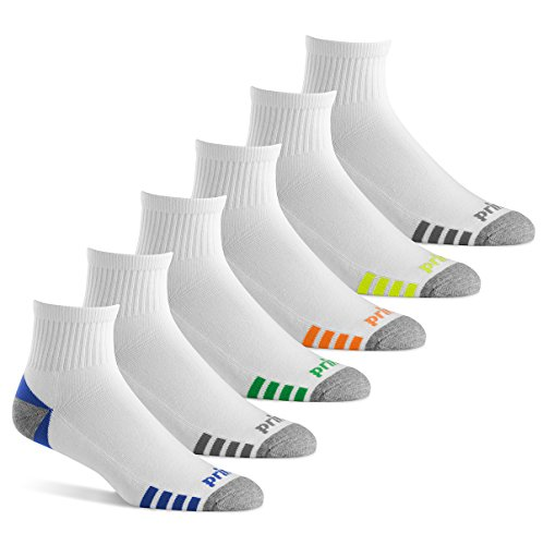 Prince Men's Quarter Performance Socks for Running, Tennis, and Casual Use (Pack of 6) - White,Men's Shoe Size 6-12