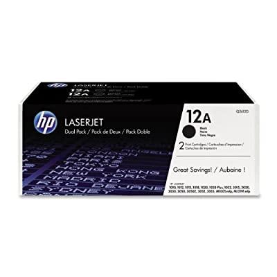 HP 12A (Q2612D) Black Original LaserJet Toner Cartridges, 2 pack