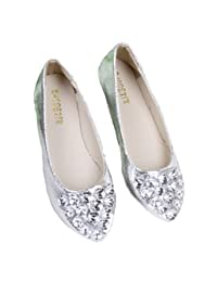 Naly Women's Milly Silver Bling Bridal Bridesmaid Flats Shoes Wedding Dresses Round Toe Pumps