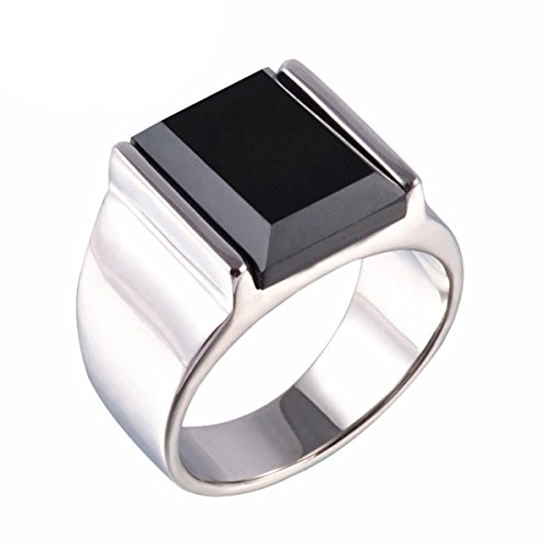 (Z&X Stainless Steel Vintage Square Black Onyx Band Ring for Men Silver Size11)