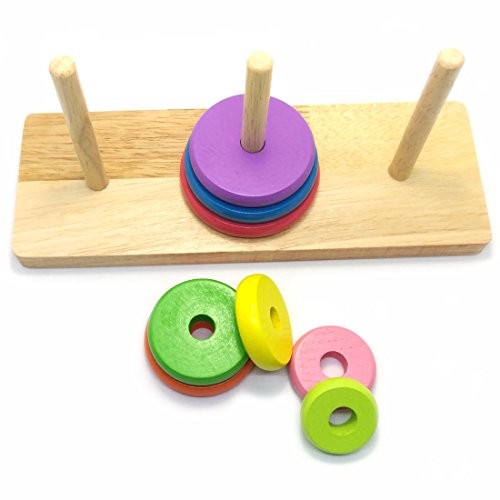Tower of Hanoi Wood Puzzle Toy Brain Teaser
