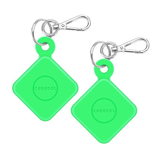 - [2 Pack] Fintie Silicone Case with Carabiner Keychain for Tile Pro with Replaceable Battery, Anti-Scratch Lightweight Soft Protective Sleeve Skin Cover, Green-Glow in The Dark