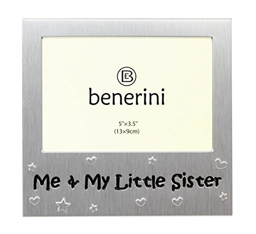 Little Sister Frame - Me and My Little Sister - Photo Picture Frame Gift -Will take a photo of 5 x 3.5 Inches (13 x 9 cm) - Brushed Aluminium Satin Silver Color.