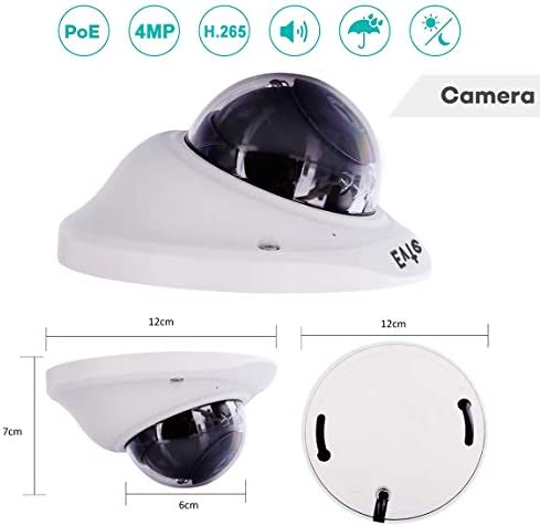 Evtevision POE IP Camera Dome HD 4MP H.265 3.6MM Lens Onvif Security Camera with 33ft IR Night Vision, Remote Viewing,Built-in Microphone Audio,Motion Detection Alert