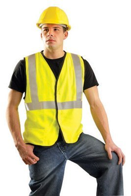 OccuNomix Medium Hi-Viz Yellow OccuLux? Premium Economy Light Weight Flame Resistant Solid Modacrylic Class 2 Vest With Front Hook And Loop Closure And 3M Scotchlite 2 Reflective Tape And 1 Pocket by Occunomix