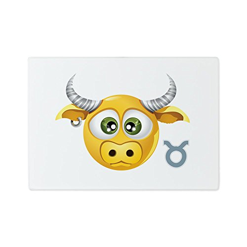 (Glass Cutting Board Smiley Face Zodiac Taurus)