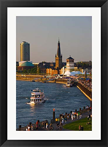 People Walking at The Riverside, Rhein River, Dusseldorf, North Rhine Westphalia, Germany by Panoramic Images Framed Art Print Wall Picture, Black Flat Frame, 28 x 38 inches (River Rhine Framed)