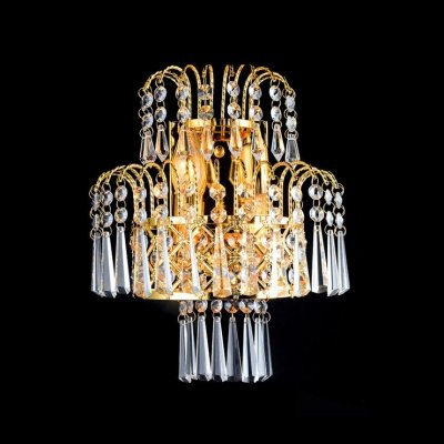 hua Lustrous Low-Voltage Luminaire Wall Sconce Composed of Faceted Crystal Beads