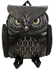 Bestoyard Mochila de couro preta com desenho de coruja, mochila casual para escola e uso diário