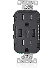 Leviton 15-Amp USB Charger/Tamper Resistant Duplex Receptacle